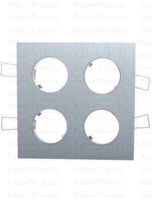 Vierkant Luzern inbouwarmatuur Aluminium 4voudig