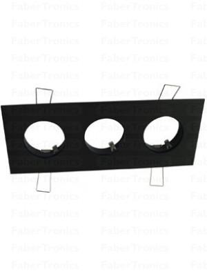 Rechthoek Luzern inbouwarmatuur zwart 3voudig