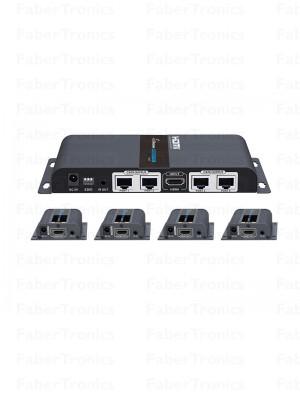 HDMI 4 poort extender + splitter over UTP - Huismerk