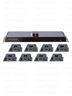 HDMI 8 poort extender + splitter over UTP - Huismerk