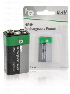 Oplaadbare NiMH 9V-batterij 250 mAh, 1-blister