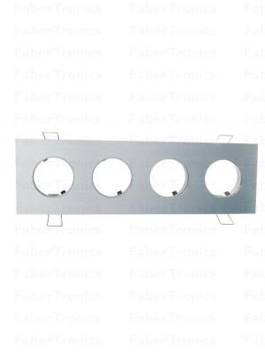 Rechthoek Luzern inbouwarmatuur Aluminium 4voudig