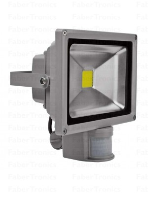10W LED bouwlamp / Floodlight koud wit met sensor