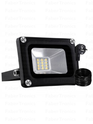 10W LED bouwlamp / Floodlight warm wit (Zwarte behuizing) stekker