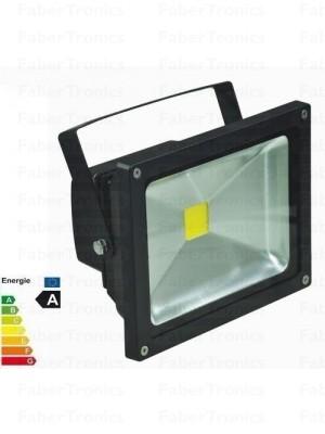 20W LED bouwlamp / Floodlight koud wit (zwarte behuizing)