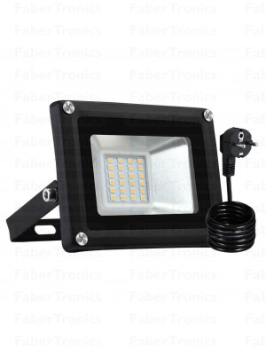 20W LED bouwlamp / Floodlight warm wit (Zwarte behuizing) stekker