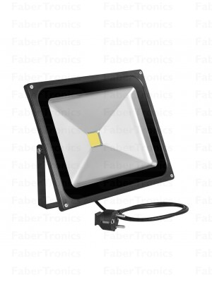 50W LED bouwlamp / Floodlight warm wit (Zwarte behuizing) Stekker