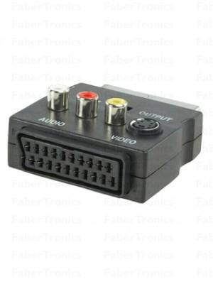 Scart naar RCA adapter met scart doorverbinder