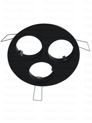 Rond Luzern inbouwarmatuur zwart 3voudig 120mm