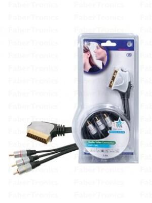 HQ Scart - 3x RCA kabel 1,5m