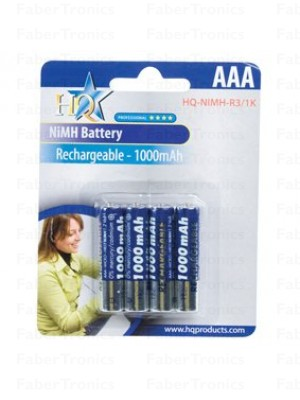 HQ AAA batterijen 1000mAh 4stuks