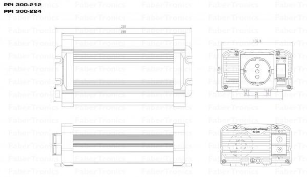 Xenteq Inverter Zuivere sinus PPI 300-212 Afmetingen
