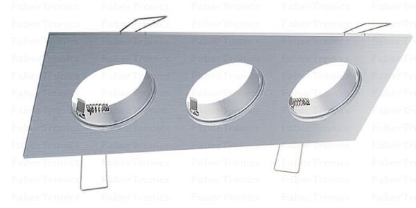 Rechthoek Luzern inbouwarmatuur Aluminium 3voudig
